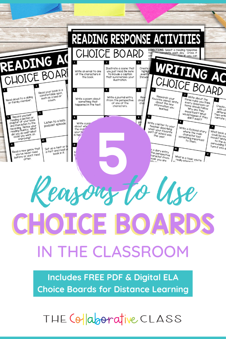 free reading and writing choice boards