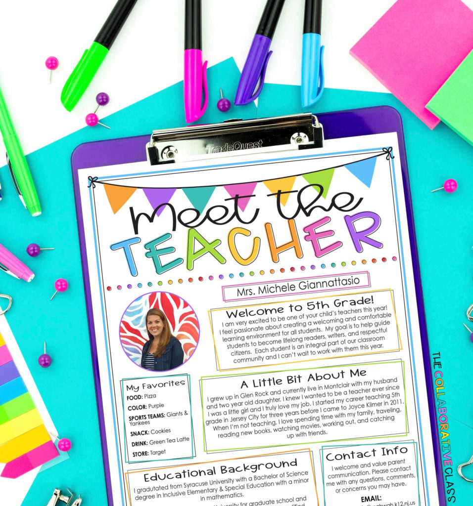 meet the teacher letter to students