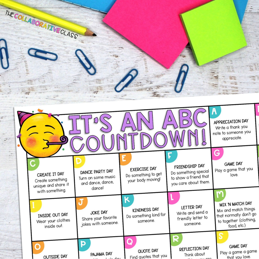 end of the year activities countdown