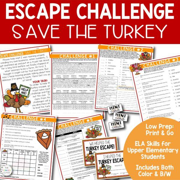 ELA upper elementary classroom escape challenge for Thanksgiving