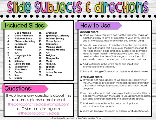 assignment slides subjects and directions