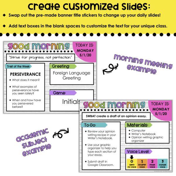 create custom assignment slides