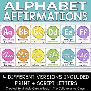 alphabet affirmation posters classroom decor